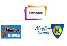 Logotipos de Asmodee, lookout games y Mayfair Games