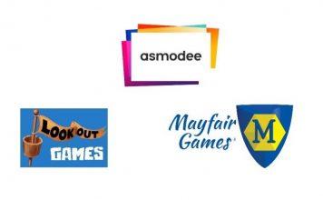 Logotipos de Asmodee, lookout games y Mayfair Games