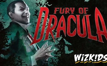 Fragmento de la portada de la furia de Drácula con el logo de wizkids