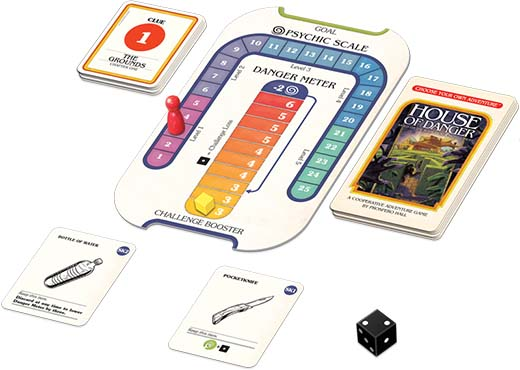 Disposición inicial del juego de mesa de elige tu propia aventura la casa del peligro
