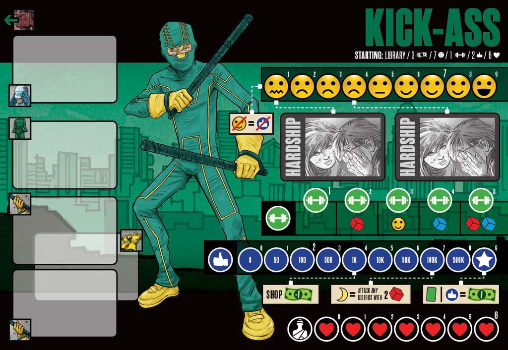 Tablero de héroe del juego de mesa de Kick-ass