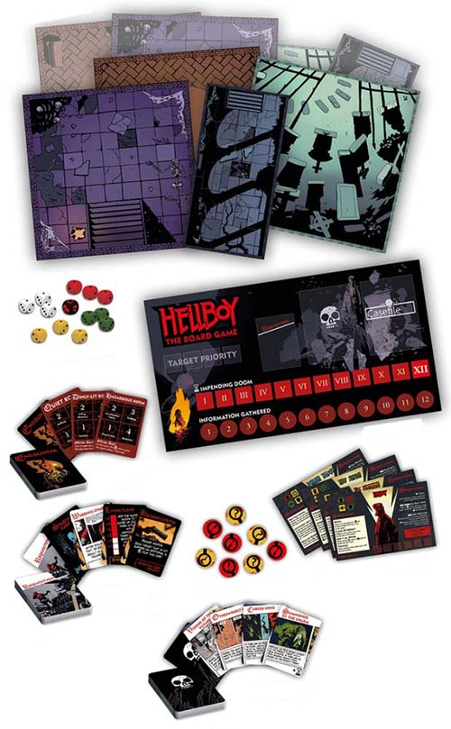 Componentes de Hellboy the boardgame