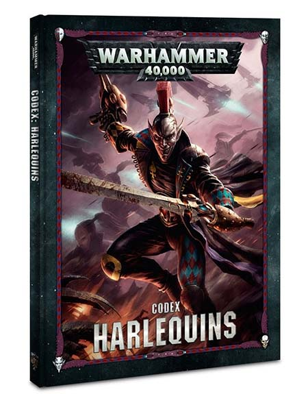 Portada del nuevo codex de los arlequines de warhammer 40k