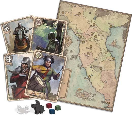 Componentes de la edición de Z-Man Games de Condottiere