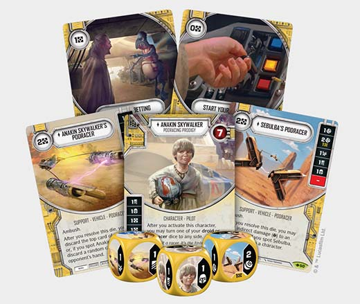 Cartas de la carrera de vainas de la expansión way of the force de Star wars destiny