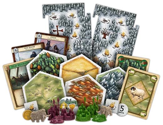 Componentes de la expansión para Catan Juego de tronos Brotherhood of the Watch