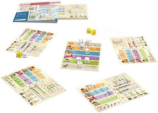 Componentes del juego de mesa Corinth