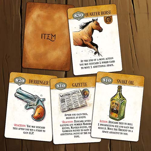 Cartas de objetos de Western Legends Ante Up