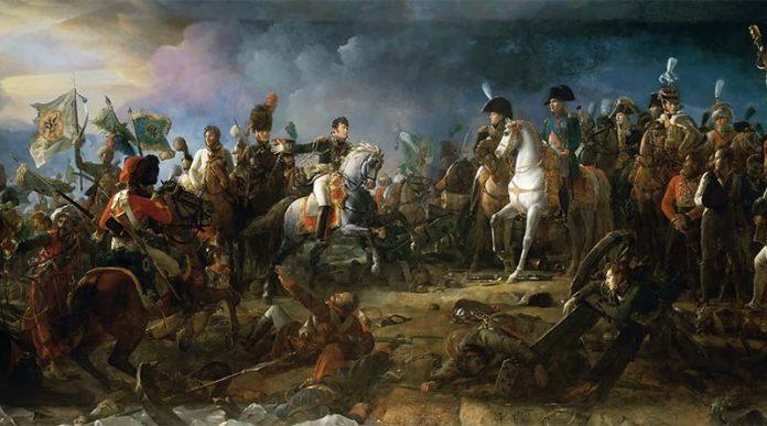 Pintura de la batalla de Austerlitz en 1805