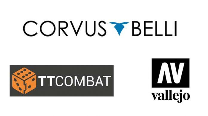 Logotipos de Corvus Belli, TT Combat y Vallejo