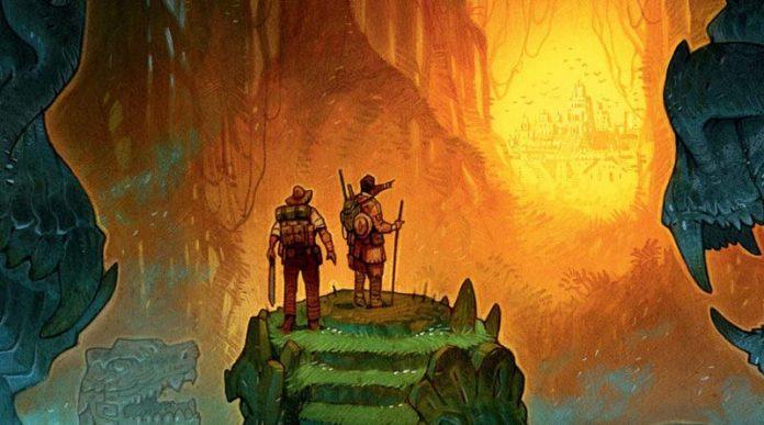Detalle del arte de la portada de la expansion para robinson crusoe relatos misteriosos