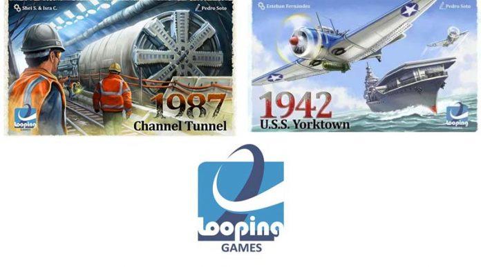 Portadas de 1987 Channel Tunnel y 1942 USS Yorktown de looping games