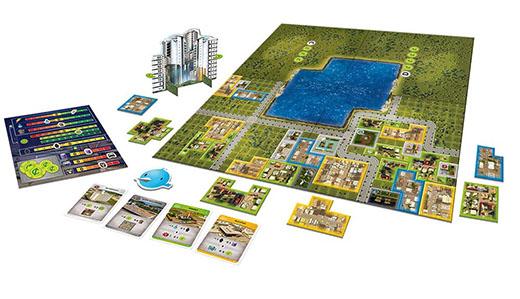 Componentes del juego de mesa Cities Skyline