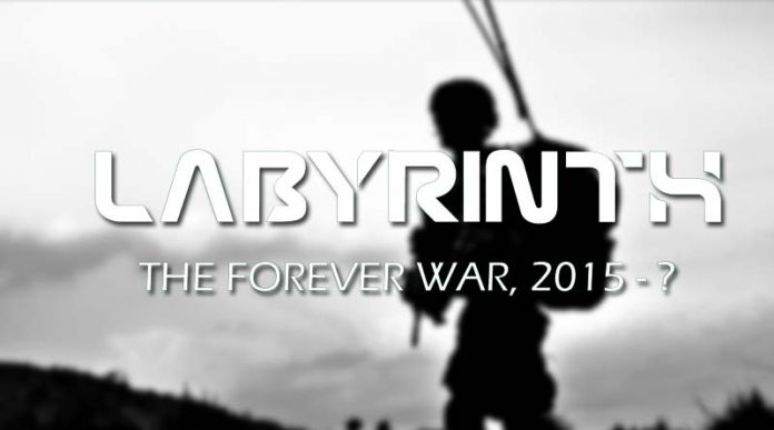 Fragmento de la portada de Labyrinth: The Forever War