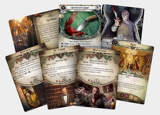 Cartas de Murder at excelsior hotel de Arkham horror el juego de cartas