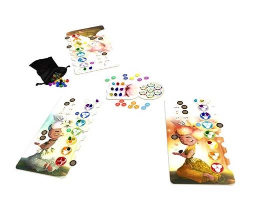 Componentes de Chakra el juego de mesa editado por Mercurio Distribuciones