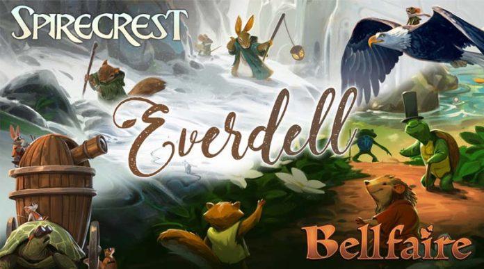 Logotipos de Everdell Spirecrest y bellfaire