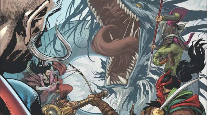 Ilustración del comic basado en el juego de mesa Rising Sun