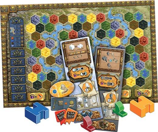 Componentes de la expansión Merchant of the sea de Terra Mystica