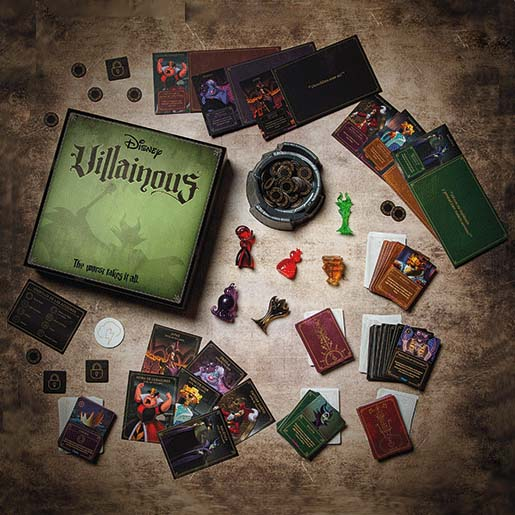 componentes del juego de tablero Villainous