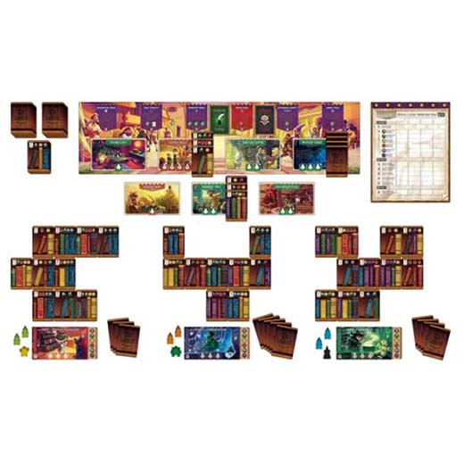 Componentes del juego de mesa Ex Libris
