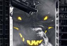 Detalle del arte de la portada de king of tokyo dark edition