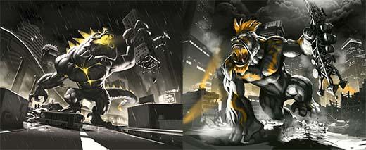 Ilustraciones de King y Gigazaur en su versión dark edition