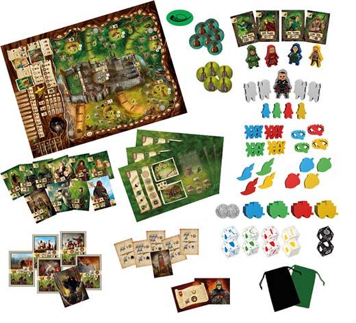 Componentes del juego de mesa Robin Hood y sus alegres compañeros