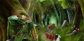 Detalle de la portada del juego de mesa Robin Hood y sus alegres compañeros