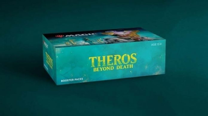 Render de la caja del nuevo set de Magic: The Gathering Theros Beyond Death