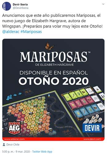 Twit de Devir iberia confirmando la publicación en castellano de Mariposas