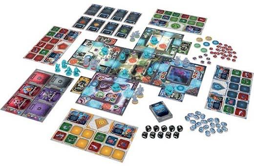 Componentes del juego de tablero Starcadia Quest