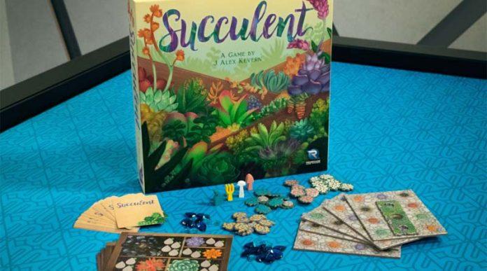 Componentes y caja de succulent, el nuevo juego de mesa de Renegade Games
