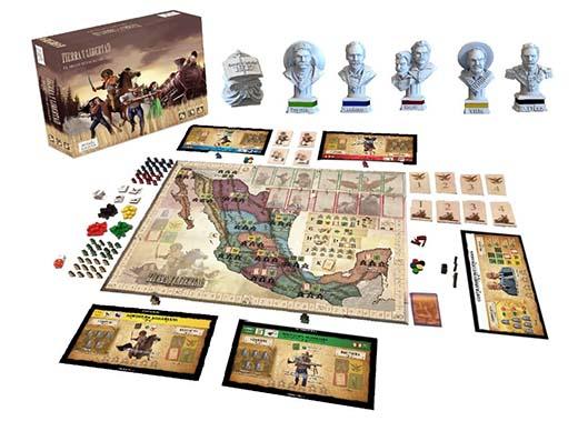 Componentes del juego de mesa Tierra y Libertad