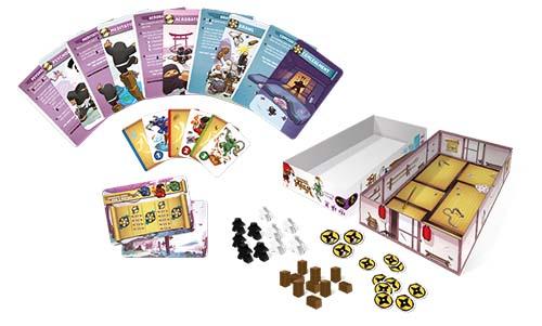 Componentes del juegod e tablero academia ninja