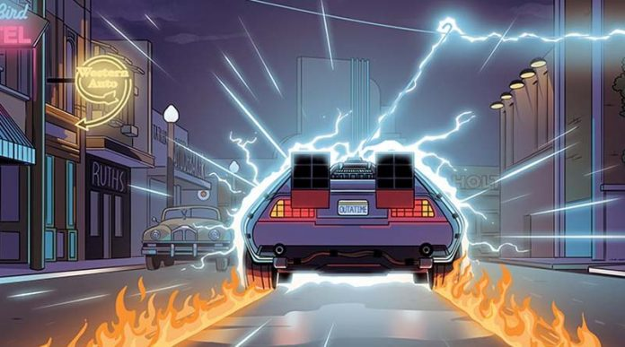 Detalle de la portada del juegod e mesa Back to the Future: Back in Time