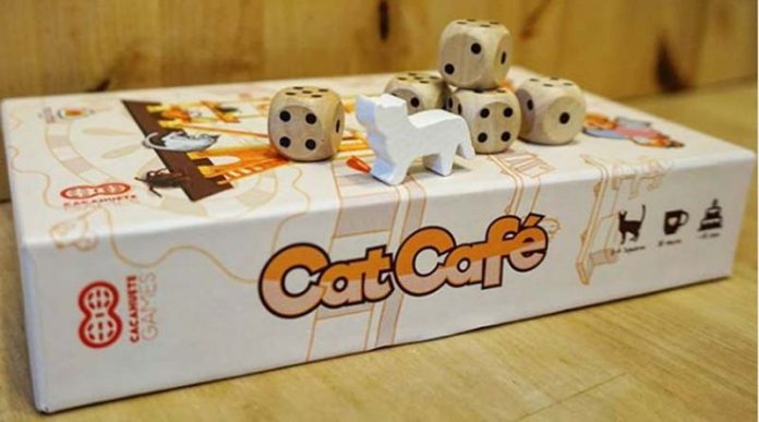 Detalle de los componentes de Cat Cafe de cacahuete Games