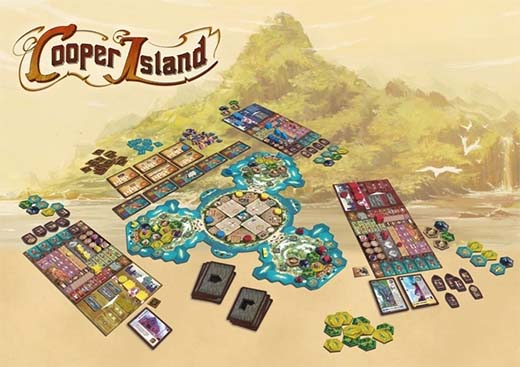 Componentes del juego de tablero cooper island