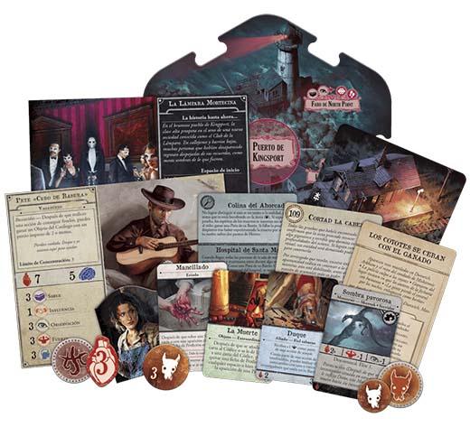 Algunos de los componentes de Arkham Horror: Mareas Tenebrosas