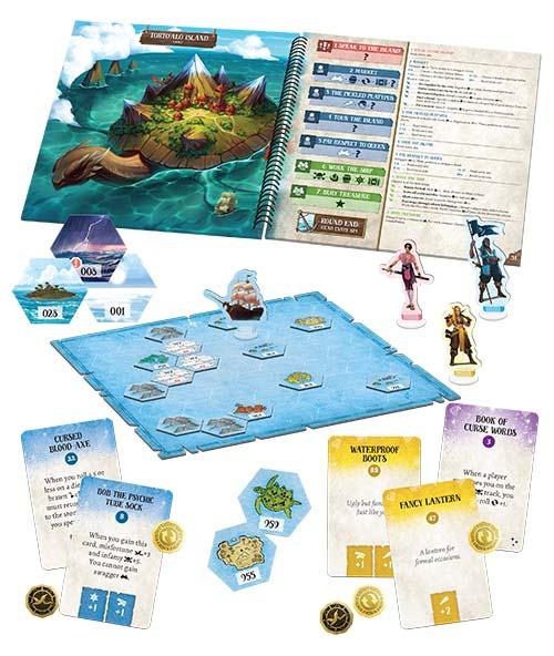 Componentes del juego de tablero Forgotten Waters