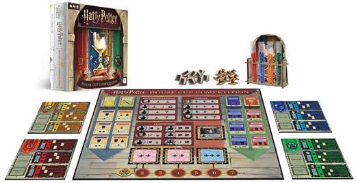Componentes del juego de tablero Harry Potter: House Cup Competition