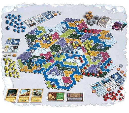 Componentes del juego de mesa winter kingdom