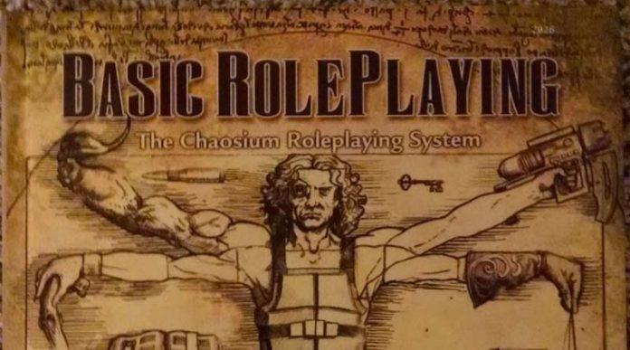 Fragmento de la portada de Basyc Role Playing System de Chaosium
