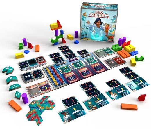 Componentes del juego de mesa For Science!