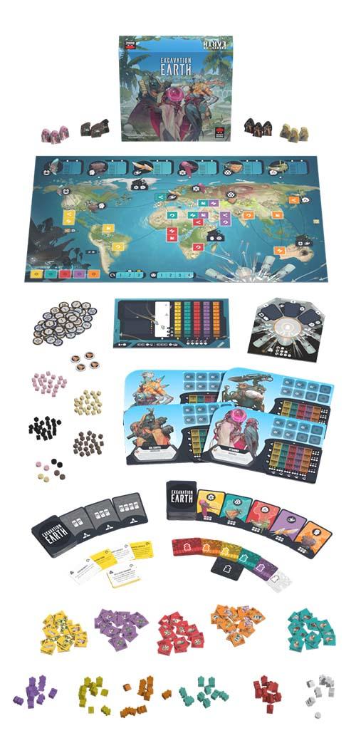 componentes del juego de mesa Excavation Earth
