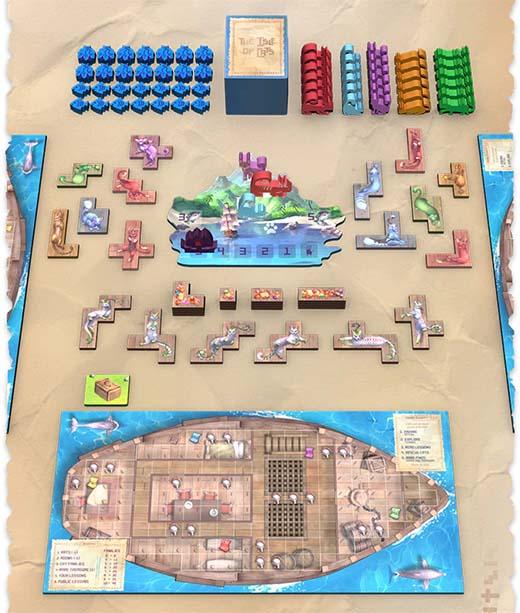 Componentes del juego de mesa La isla de los gatos