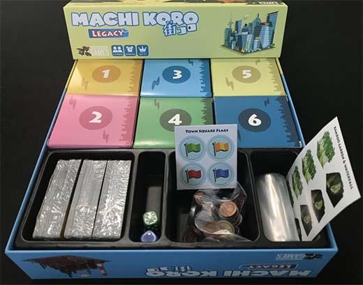 Componentes del juego de mesa Machi Koro Legacy