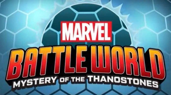 Logotipo del nuevo juego de mesa de Funko Marvel Battleworld: Mystery of the Thanostones