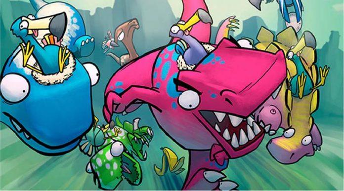 Ilustracion de la portada de dodos riding dinos