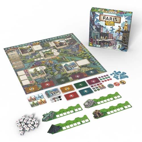 Componentes del juego de mesa Paris New Eden
